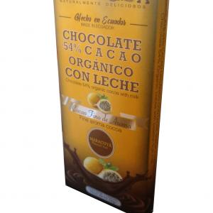 Barra del 54% Cacao Orgánico sabor a Maracuyá