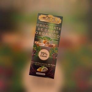 Barra de 70 % Cacao Orgánico endulzado con stevia sabor a Maracuyá